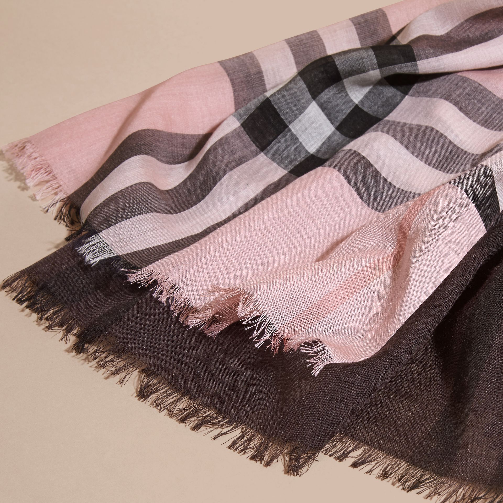 Ash rose Ombré Check Lightweight Wool Silk Scarf Ash Rose - gallery image 2