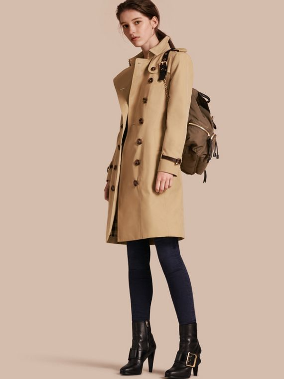 Trench coat in gabardine di cotone con finiture in pelle Miele
