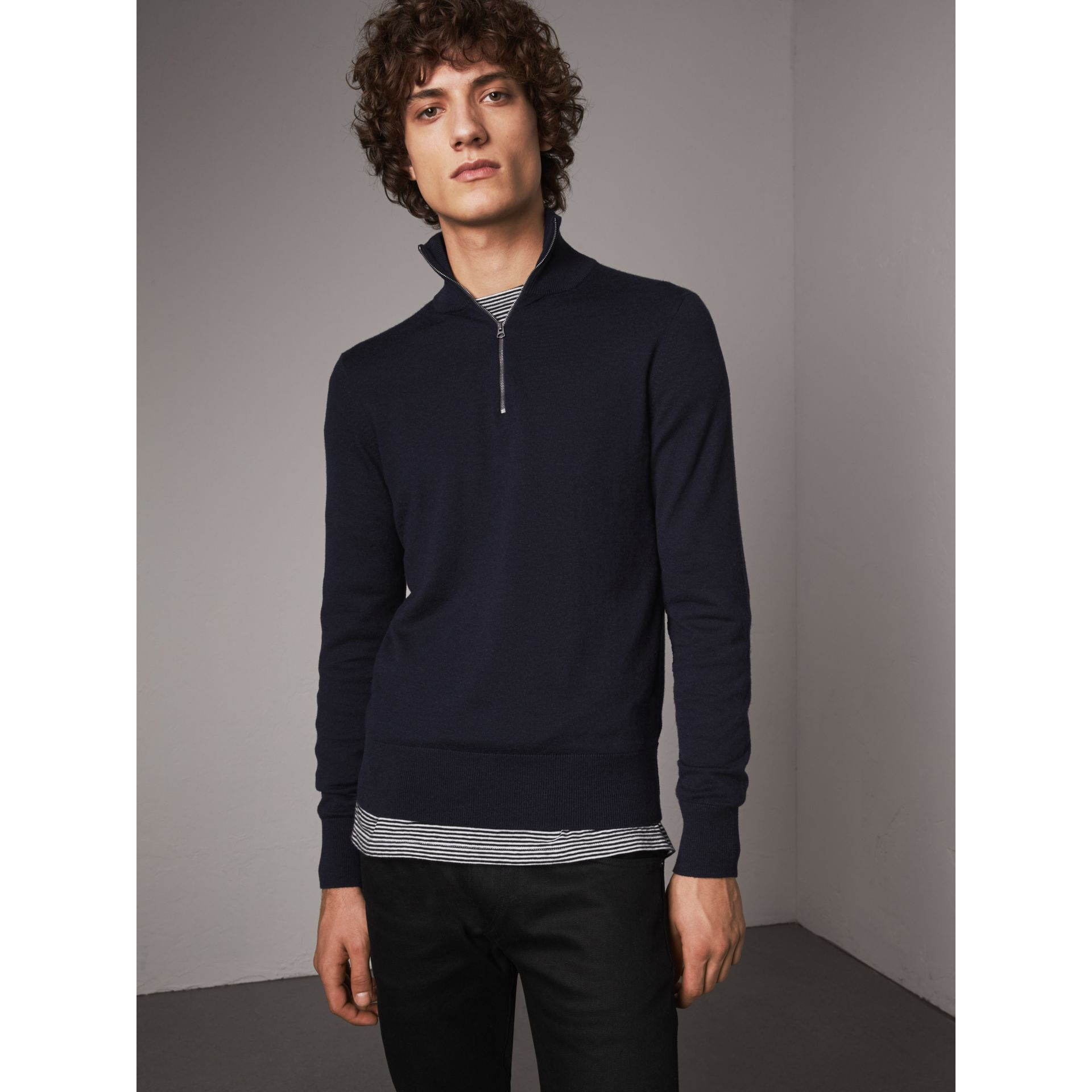 Zip-neck Cashmere Cotton Sweater in Navy - Men | Burberry Australia - gallery image 1