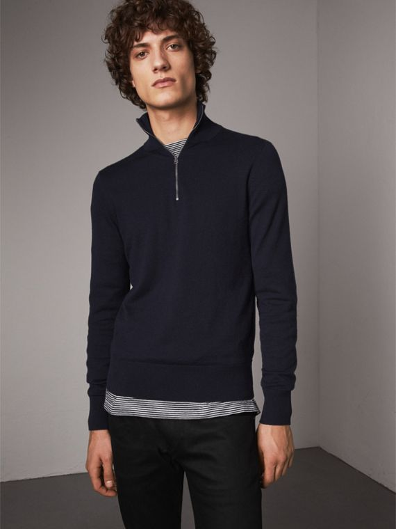 Zip-neck Cashmere Cotton Sweater in Navy
