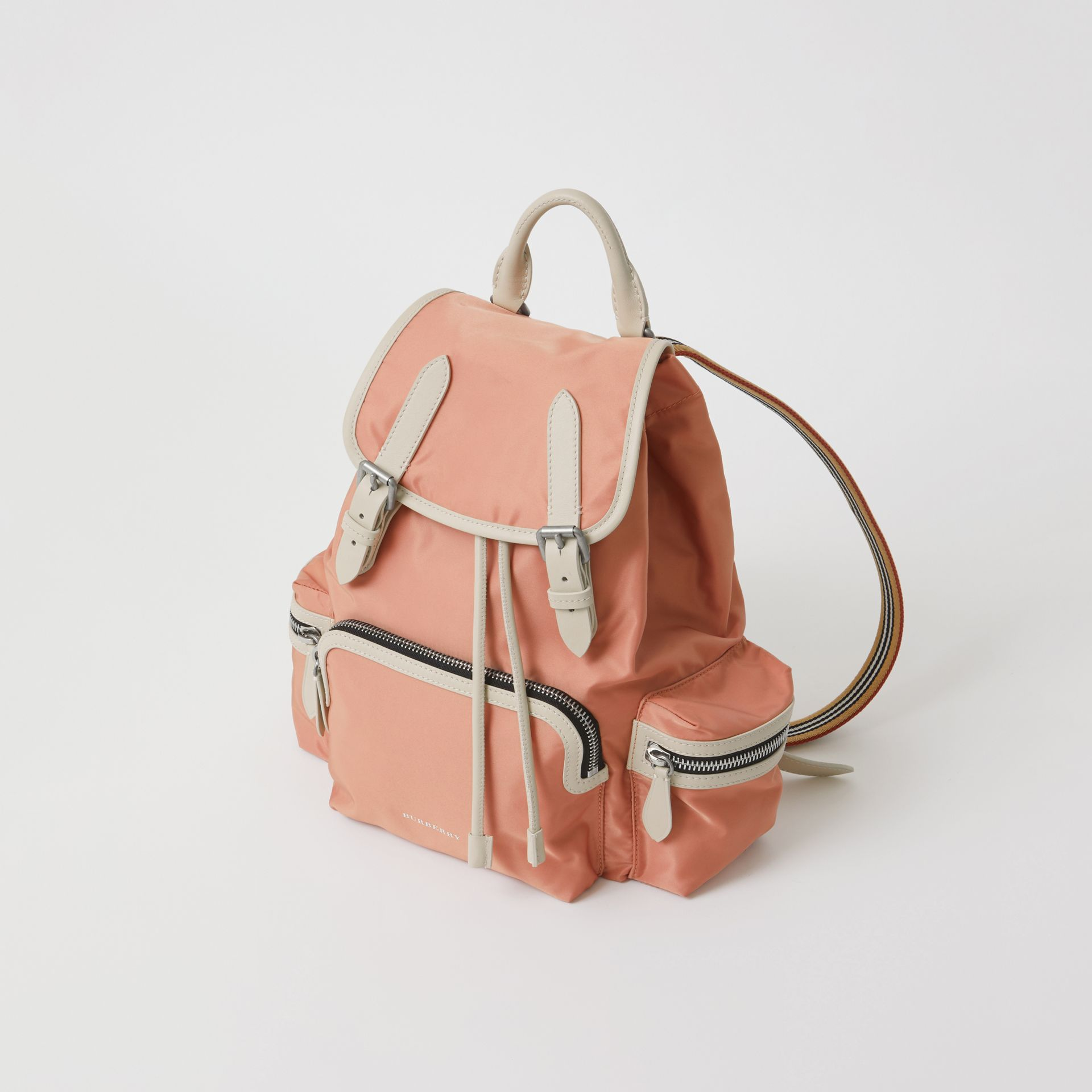 The Medium Rucksack in Technical Nylon and Leather in Powder Pink - Women | Burberry - gallery image 0