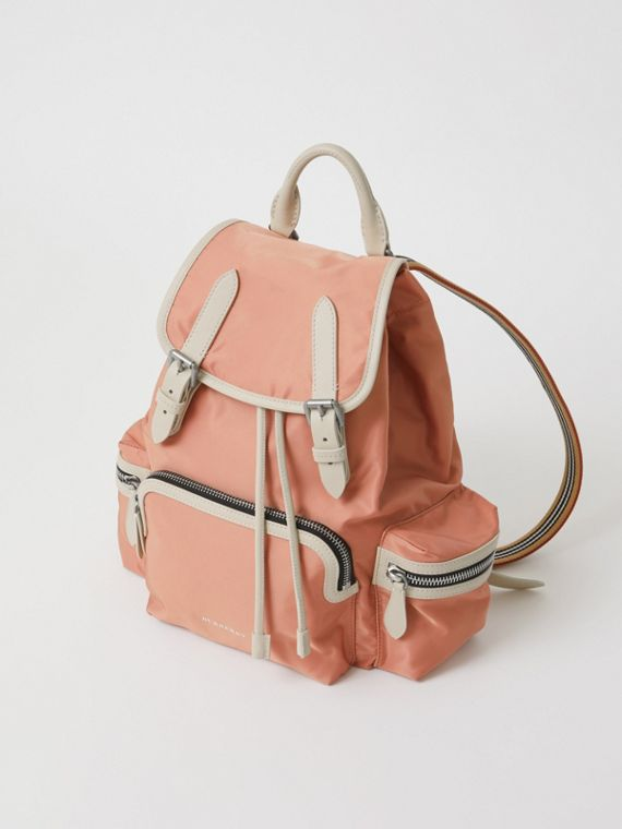 The Medium Rucksack in Technical Nylon and Leather in Powder Pink