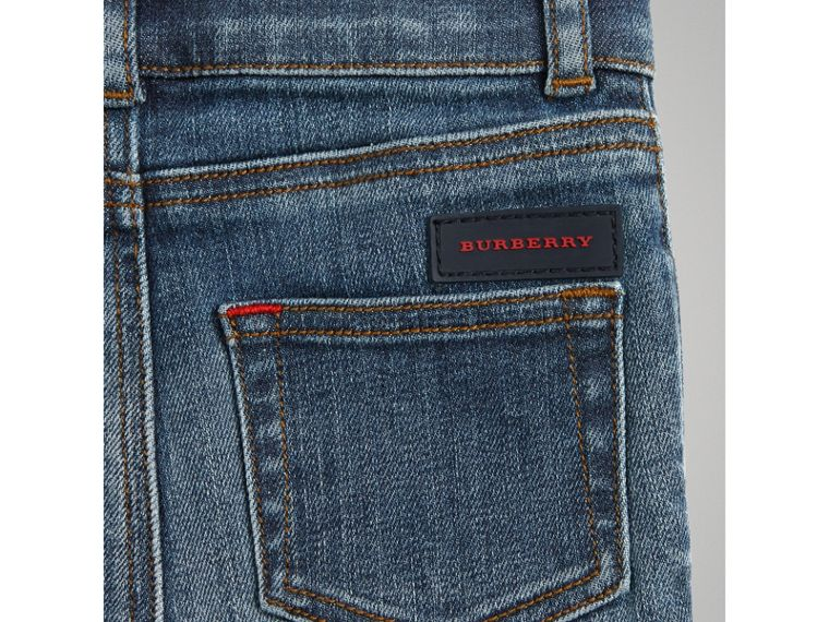 Skinny Fit Stretch Denim Jeans in Mid Indigo | Burberry - cell image 1