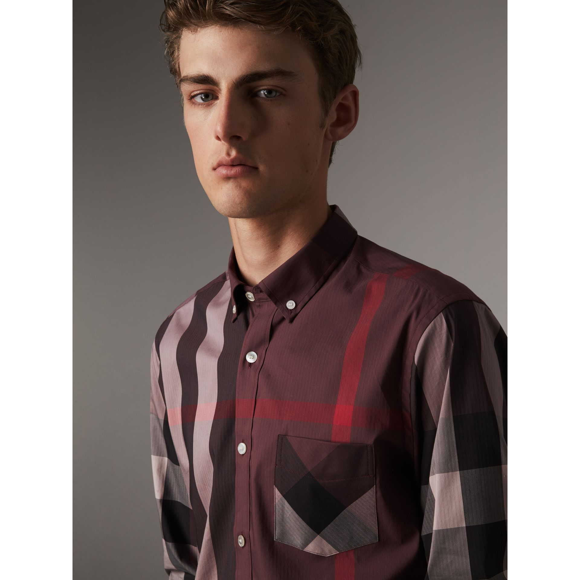 Button-down Collar Check Stretch Cotton Blend Shirt in Mahogany Red - Men | Burberry Singapore - gallery image 2