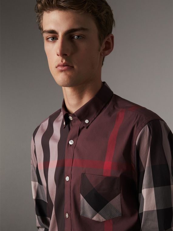 Button-down Collar Check Stretch Cotton Blend Shirt in Mahogany Red
