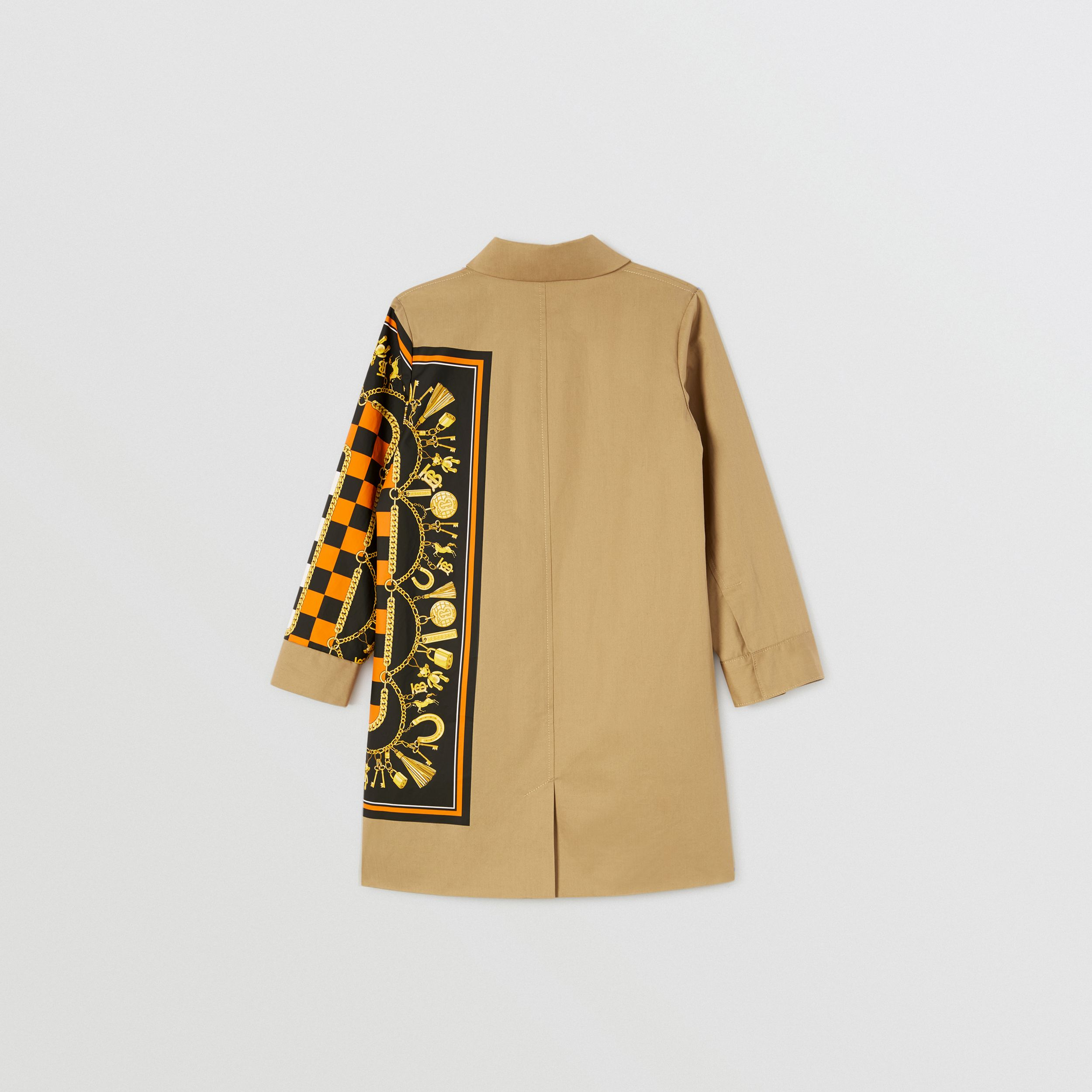 Scarf Print Cotton Twill Car Coat in Honey | Burberry - 4