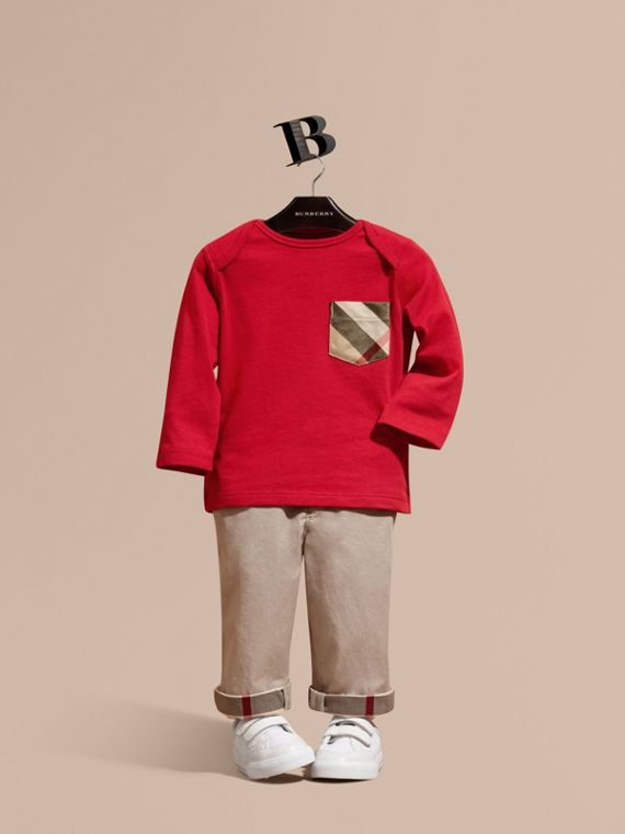 Long-sleeve Check Pocket Cotton T-shirt in Military Red - Boy | Burberry