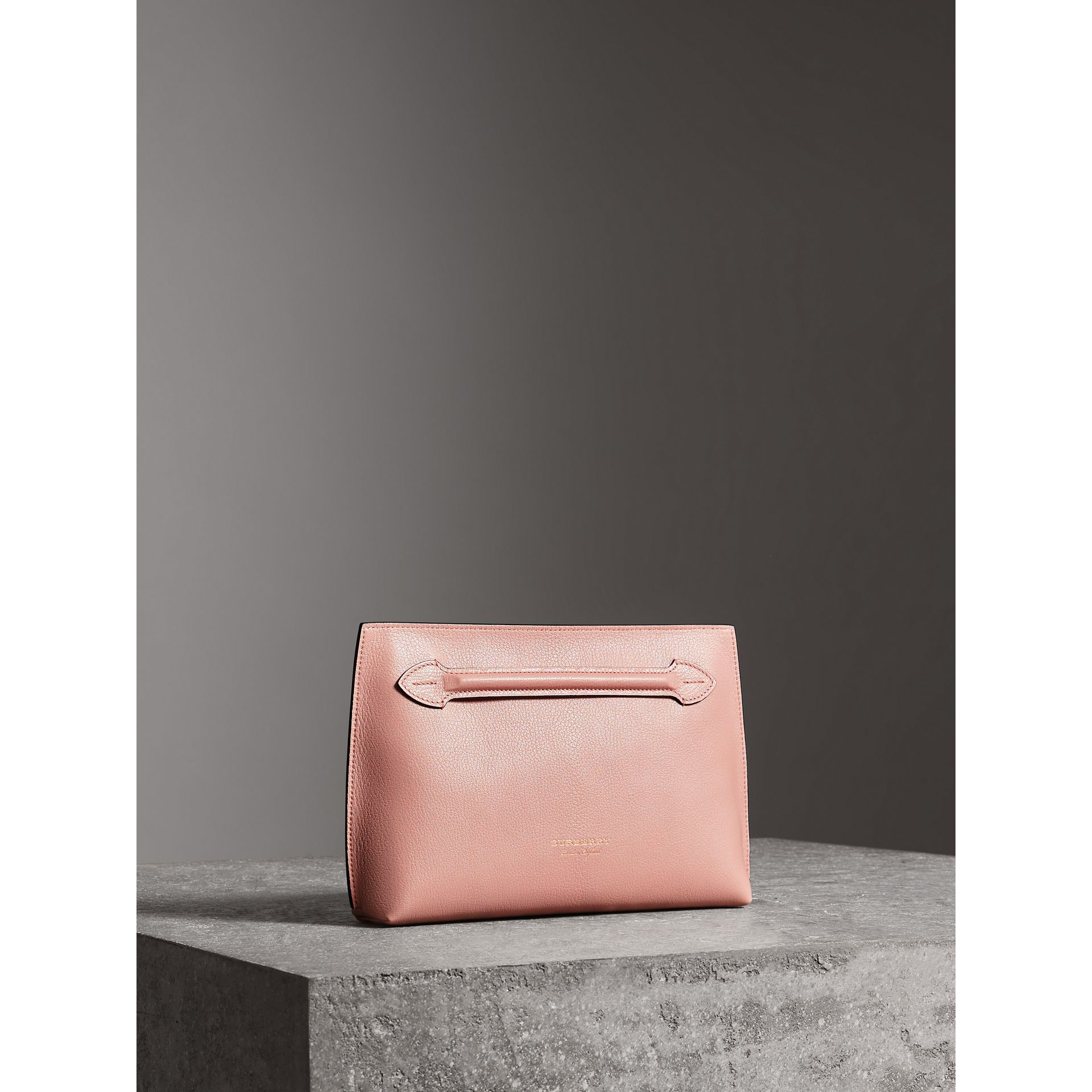 Grainy Leather Wristlet Clutch in Pale Ash Rose - Women | Burberry - gallery image 6