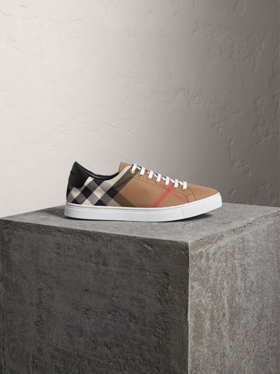 House Check Cotton and Leather Trainers in Check/black