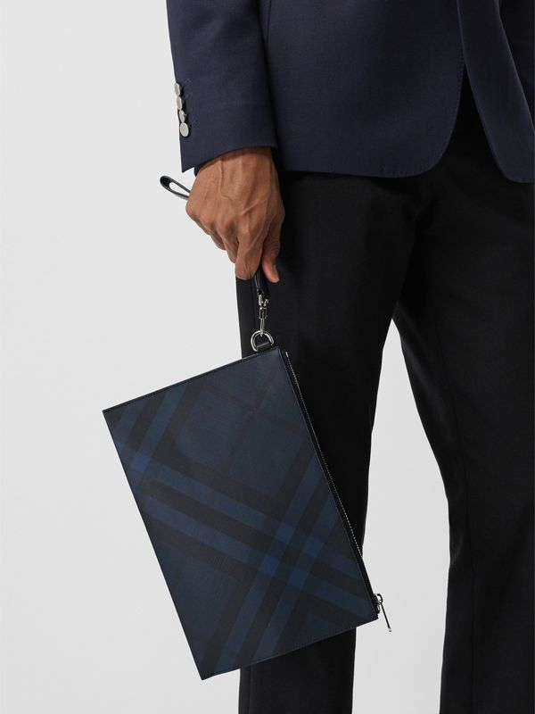London Check Zip Pouch in Navy/black - Men | Burberry United Kingdom - cell image 3