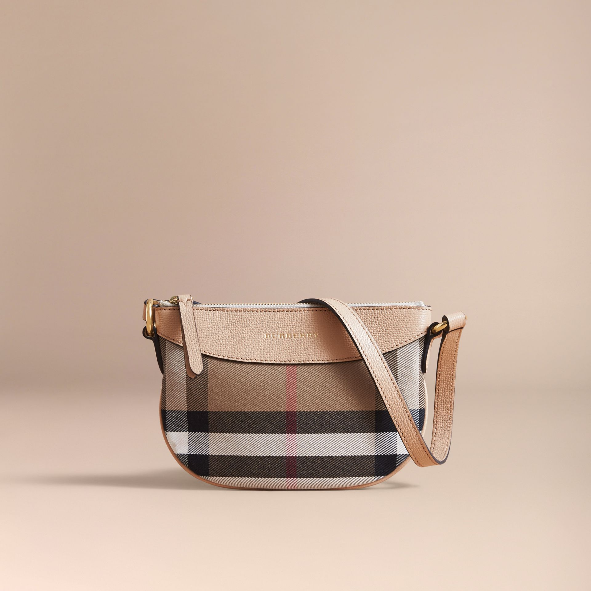 House Check and Leather Crossbody Bag in Chino - Girl | Burberry - gallery image 5