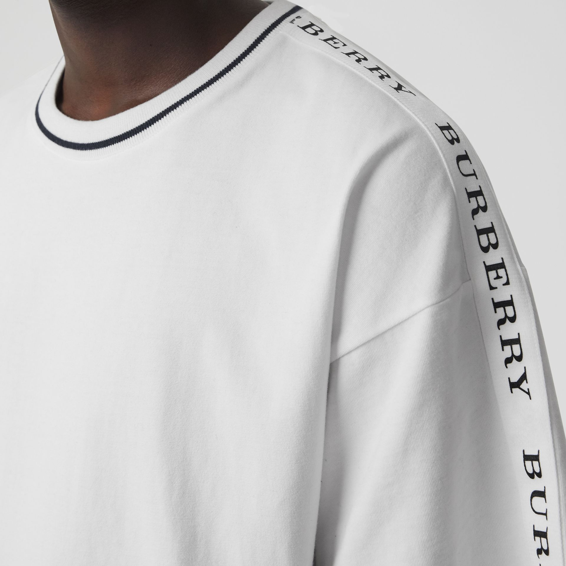 Tape Detail Cotton T-shirt in White - Men | Burberry - gallery image 1