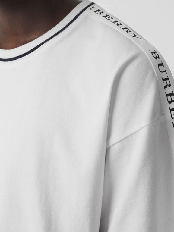 Tape Detail Cotton T-shirt in White - Men | Burberry - cell image 1