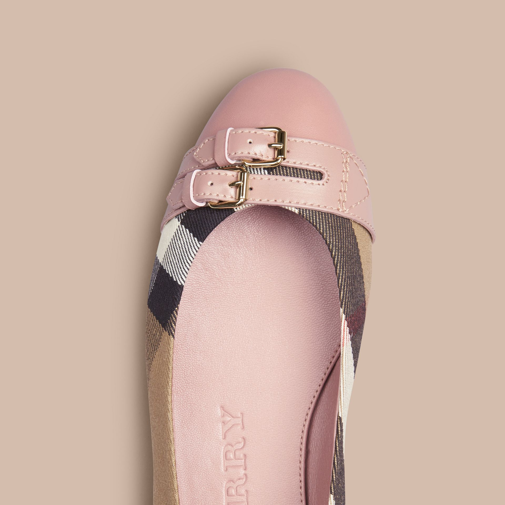 Belt Detail House Check Ballerinas in Nude Blush - Women | Burberry - gallery image 1