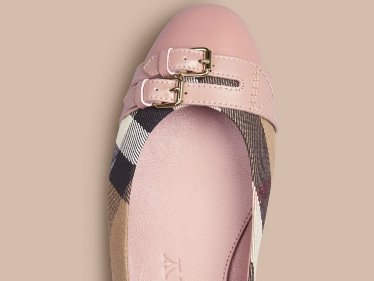 Belt Detail House Check Ballerinas in Nude Blush - Women | Burberry - cell image 1