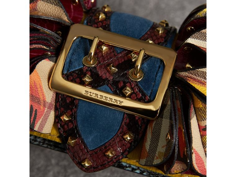 The Ruffle Buckle Bag in Snakeskin, Ostrich and Check in Larch Yellow - Women | Burberry - cell image 1