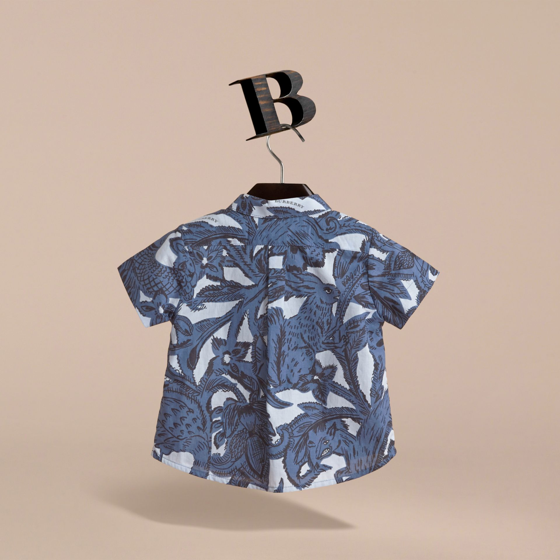 Short-sleeve Beasts Print Cotton Shirt in Stone Blue | Burberry - gallery image 4