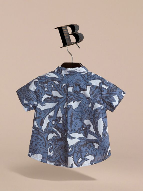 Short-sleeve Beasts Print Cotton Shirt in Stone Blue | Burberry - cell image 3