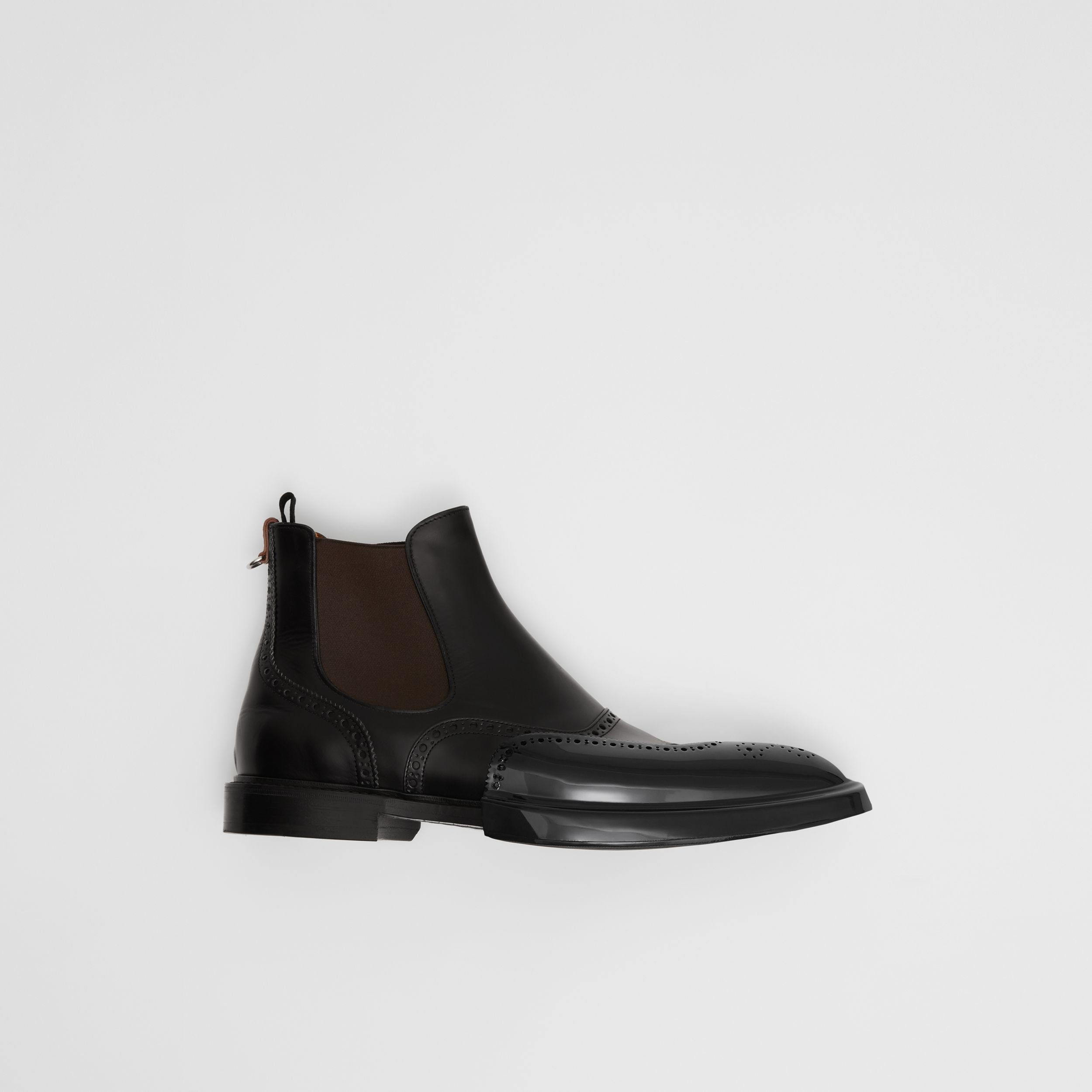 Toe Cap Detail Leather Chelsea Boots in Black | Burberry - 1