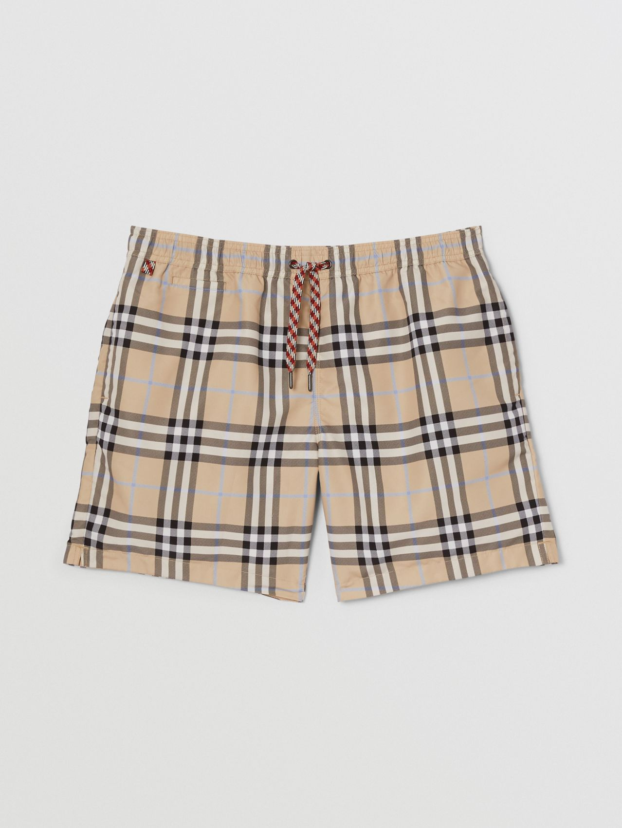 Check Print Drawcord Swim Shorts in Light Almond