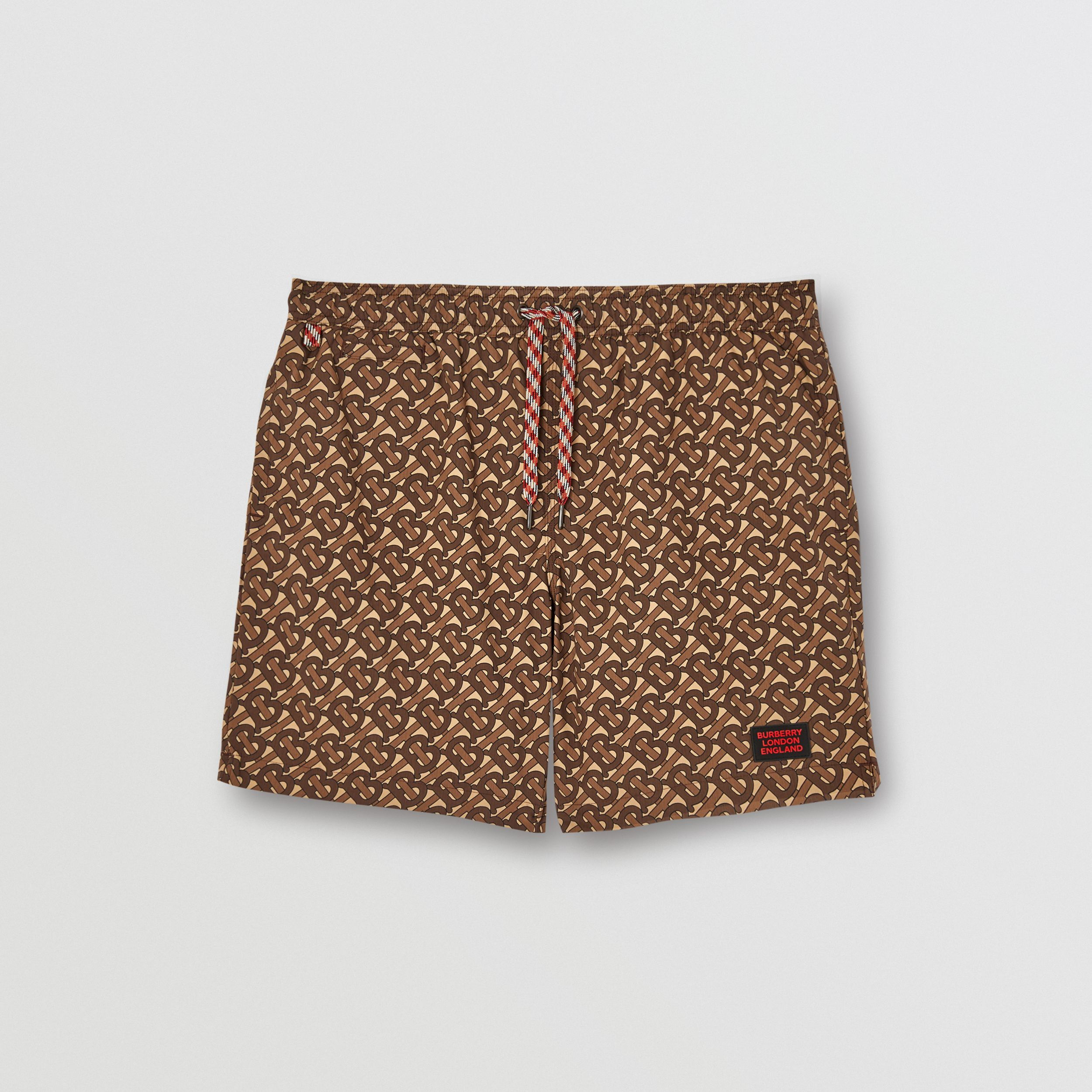Monogram Print Drawcord Swim Shorts in Bridle Brown - Men | Burberry Singapore - 1