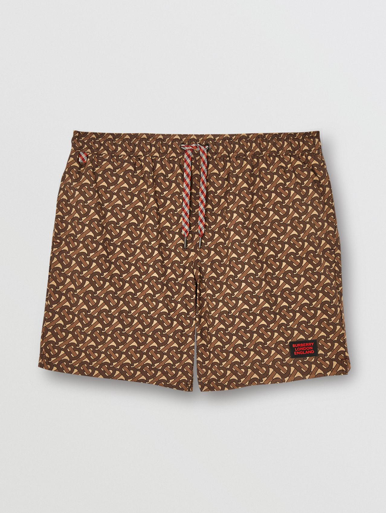 Monogram Print Drawcord Swim Shorts in Bridle Brown