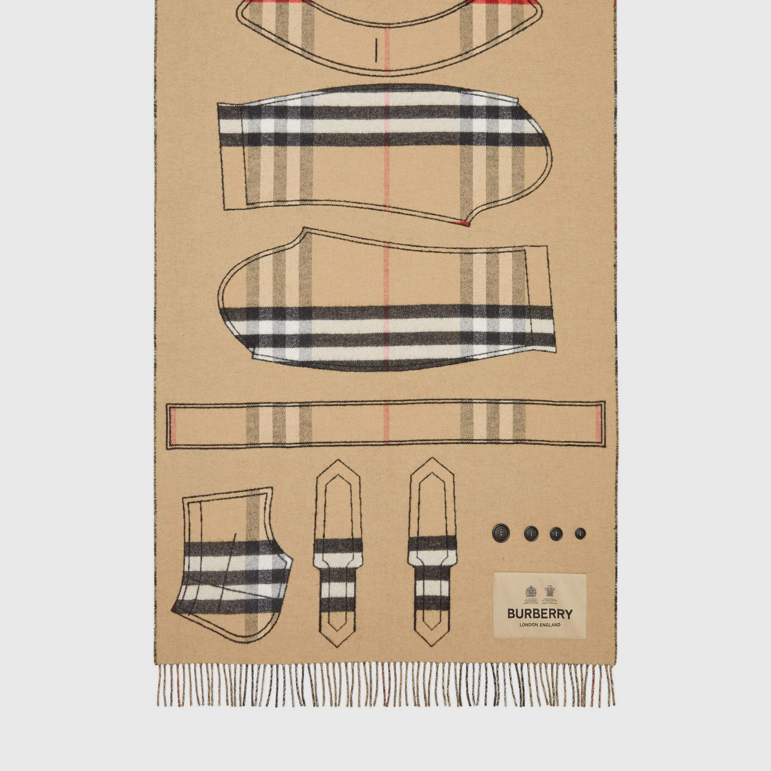 Archive Trench Coat Pattern Cashmere Jacquard Scarf in Beige | Burberry - 4