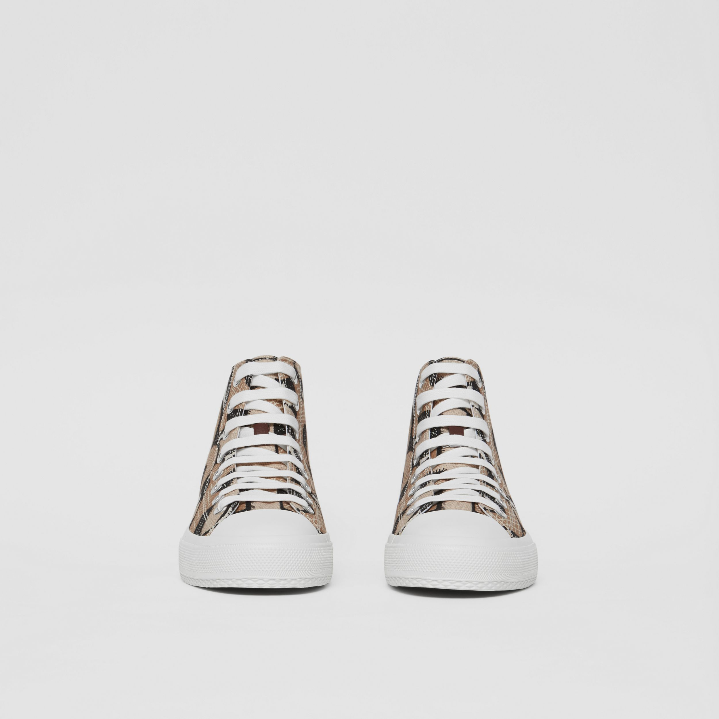 Monogram Print Cotton Canvas High-top Sneakers in Dark Beige - Women | Burberry - 4