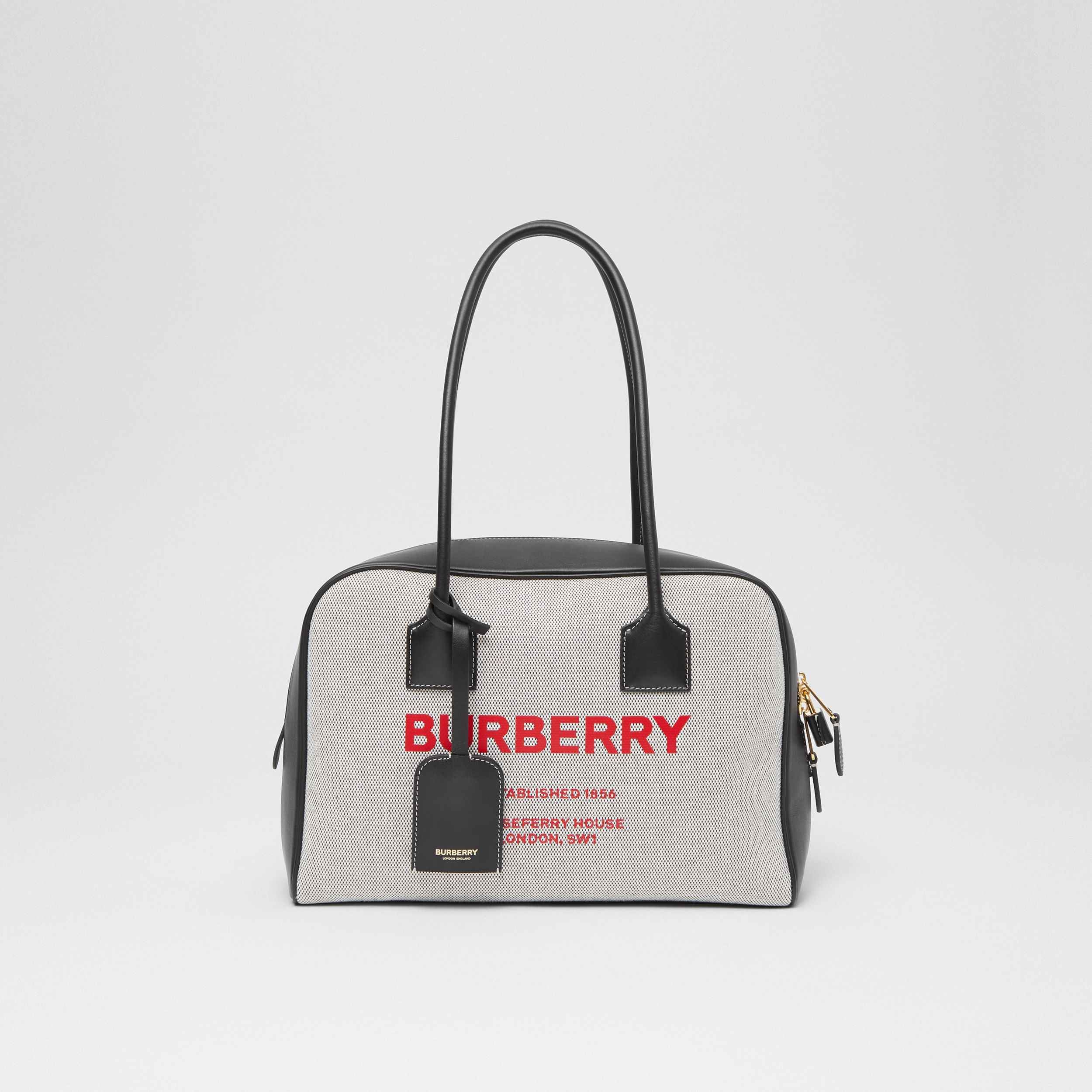 Medium Horseferry Print Cotton Canvas Half Cube Bag in Black/black/fiery Red - Women | Burberry Australia - 1