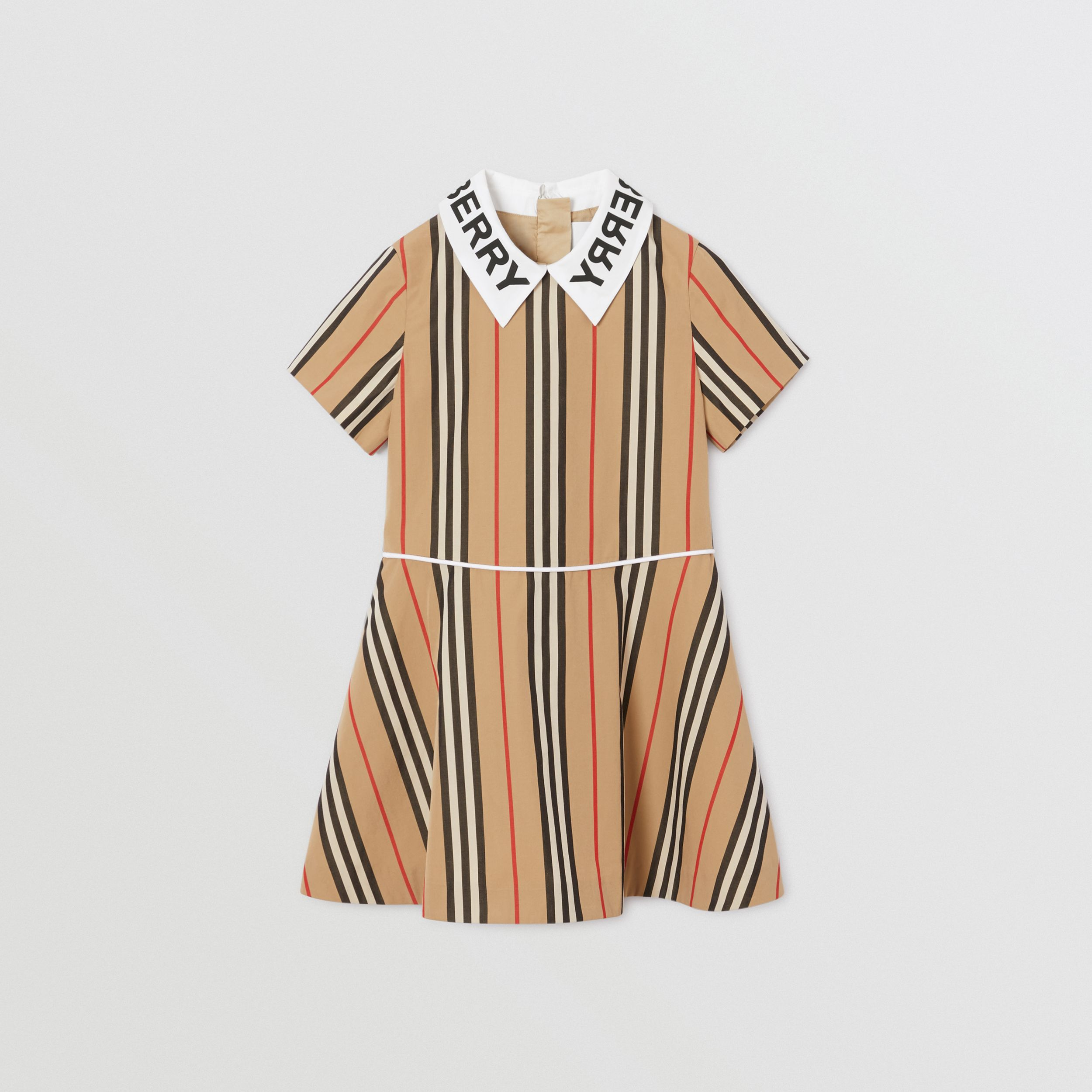 Logo Print Icon Stripe Cotton Poplin Dress in Archive Beige | Burberry - 1