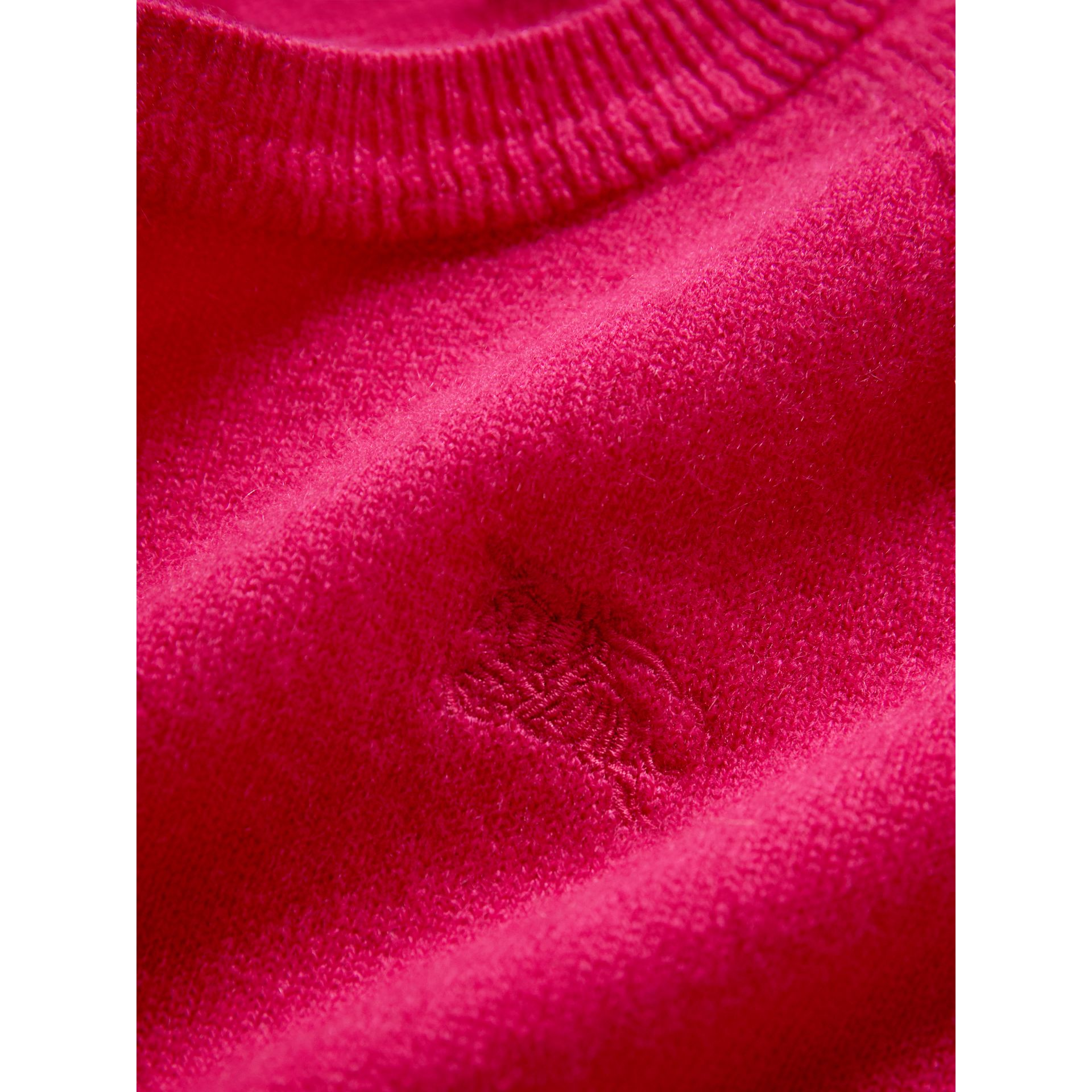 Check Cuff Cashmere Sweater in Bright Crimson Pink | Burberry - gallery image 1