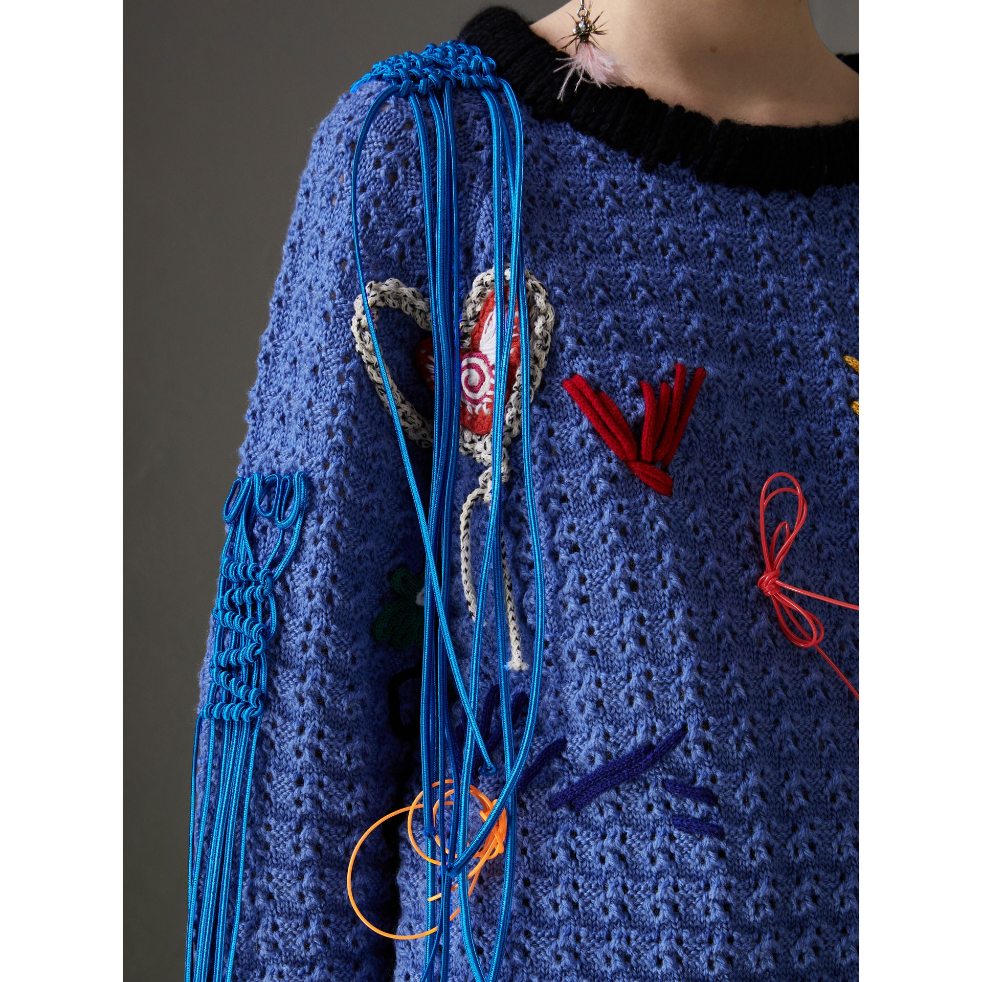 Embellished Wool Lace Sweater in Cornflower Blue - Women | Burberry - gallery image 1