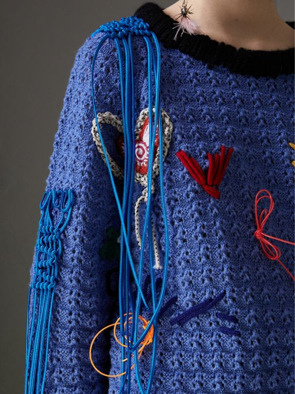 Embellished Wool Lace Sweater in Blue - Women | Burberry - cell image 1