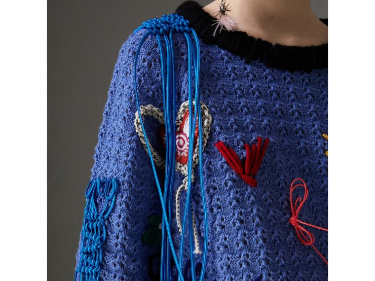Embellished Wool Lace Sweater in Cornflower Blue - Women | Burberry Hong Kong - cell image 1