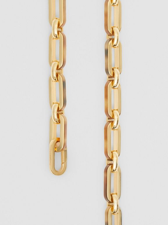 Resin and Gold-plated Chain Link Necklace in Light Gold/horn - Women | Burberry - cell image 1