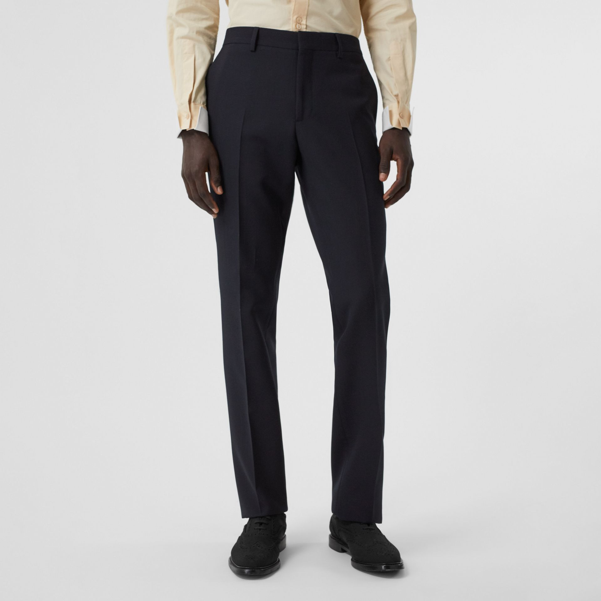 Classic Fit Double-faced Wool Crepe Tailored Trousers in Navy - Men | Burberry - gallery image 4