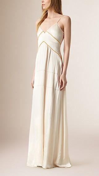 Long Empire Line Silk Dress