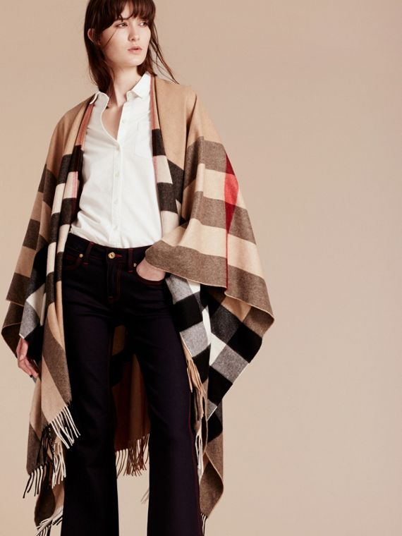 Camel Check Cashmere Poncho - cell image 2