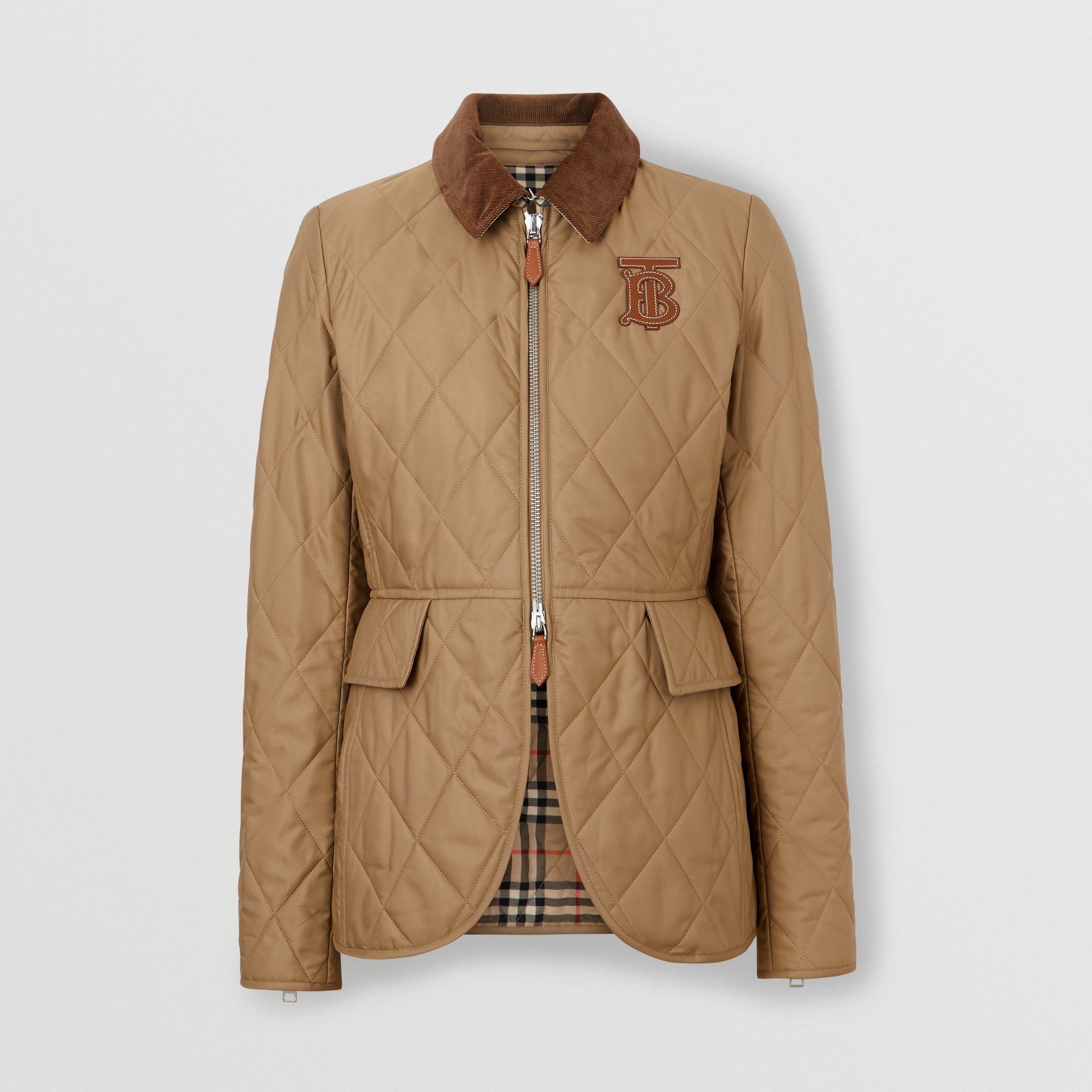 Monogram Motif Quilted Riding Jacket in Honey - Women | Burberry - gallery image 3