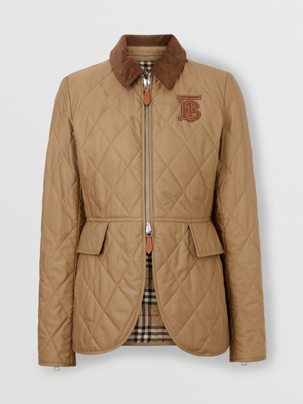 Monogram Motif Quilted Riding Jacket in Honey - Women | Burberry United Kingdom - cell image 3