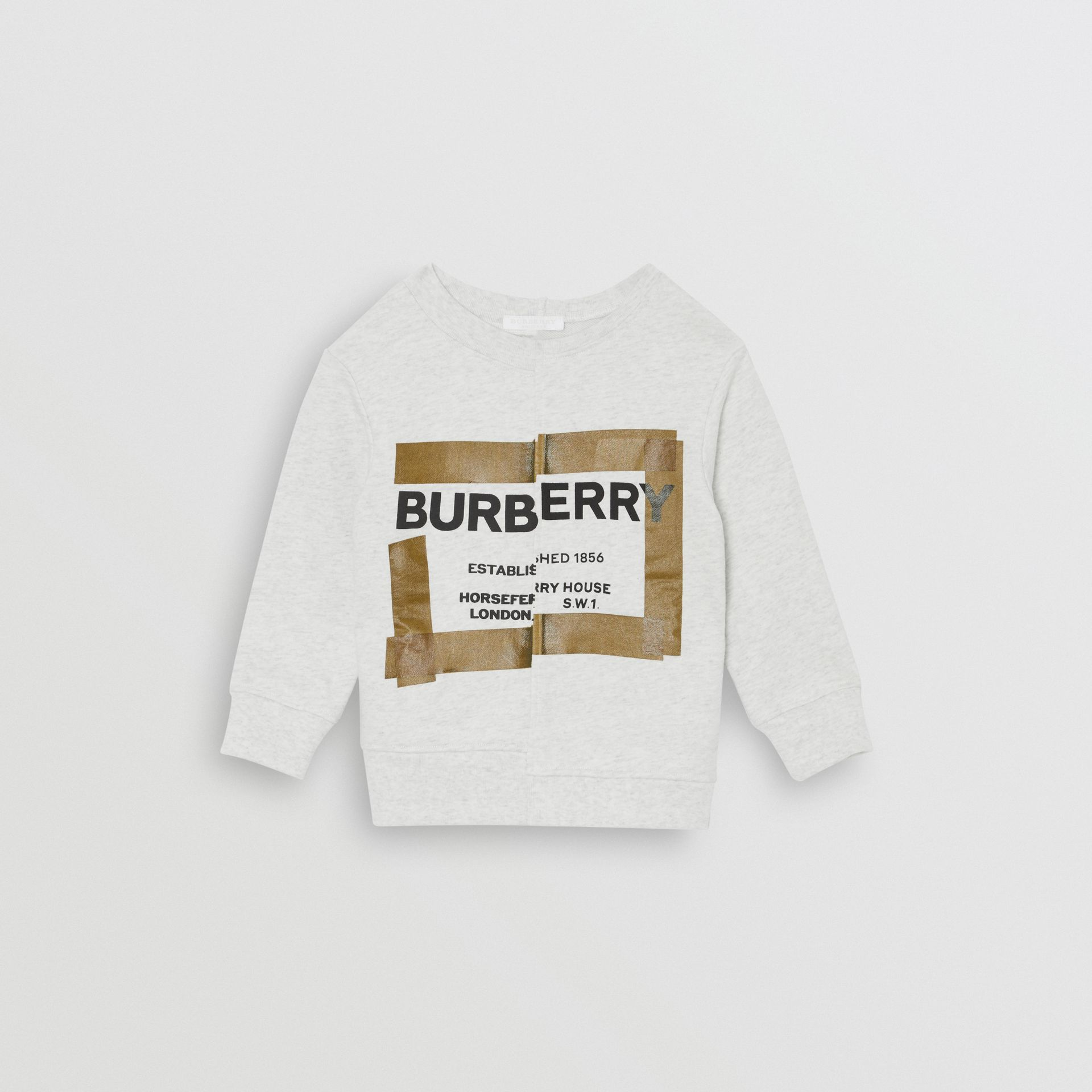 Horseferry Print Cotton Sweatshirt in White Melange | Burberry United Kingdom - gallery image 0