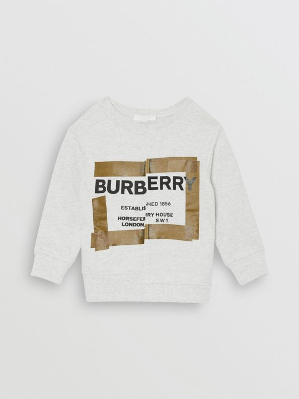 Horseferry Print Cotton Sweatshirt in White Melange