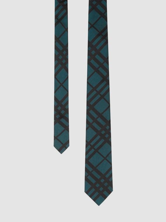 Classic Cut Check Silk Jacquard Tie in Dark Teal