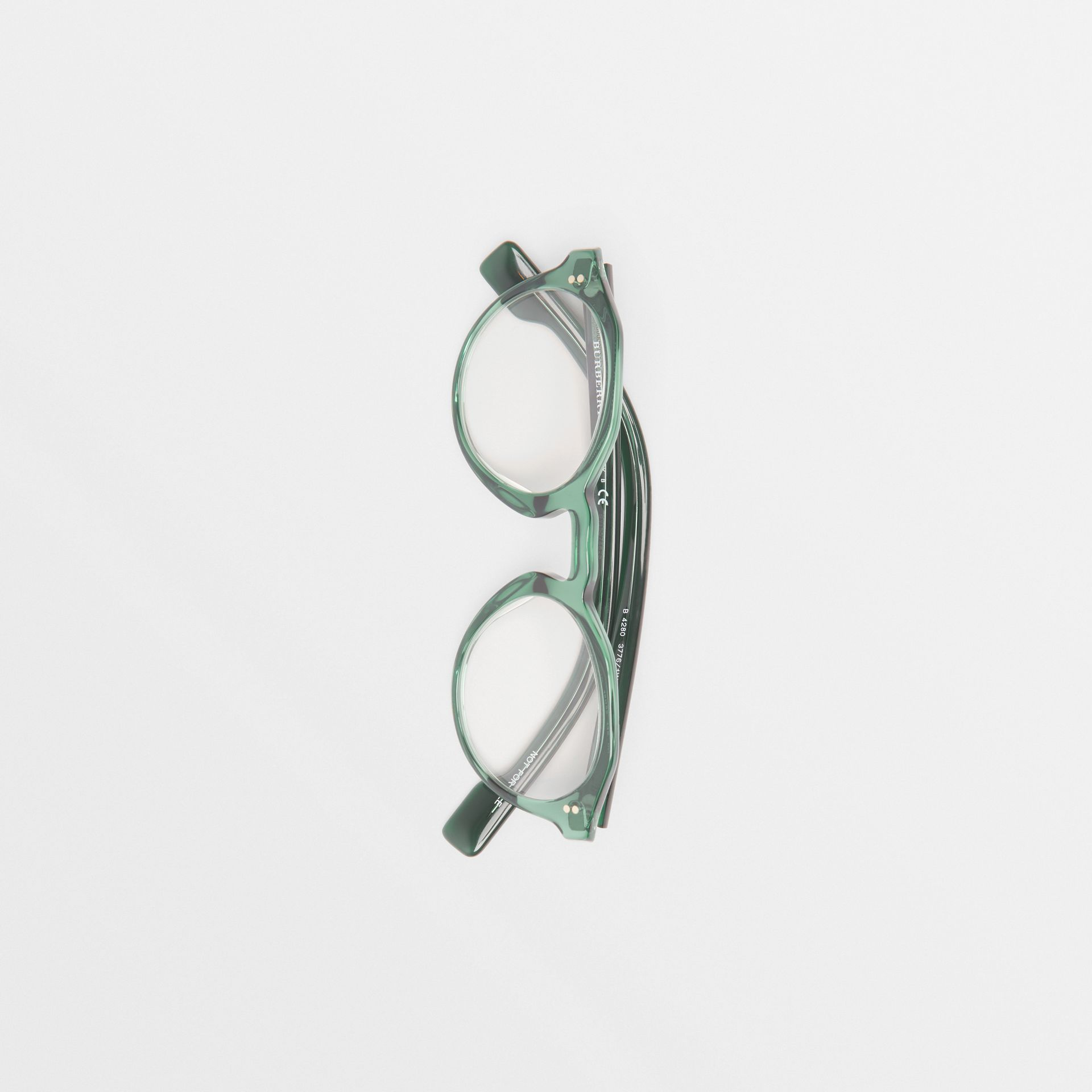 Keyhole Round Optical Frames in Green - Men | Burberry - gallery image 3
