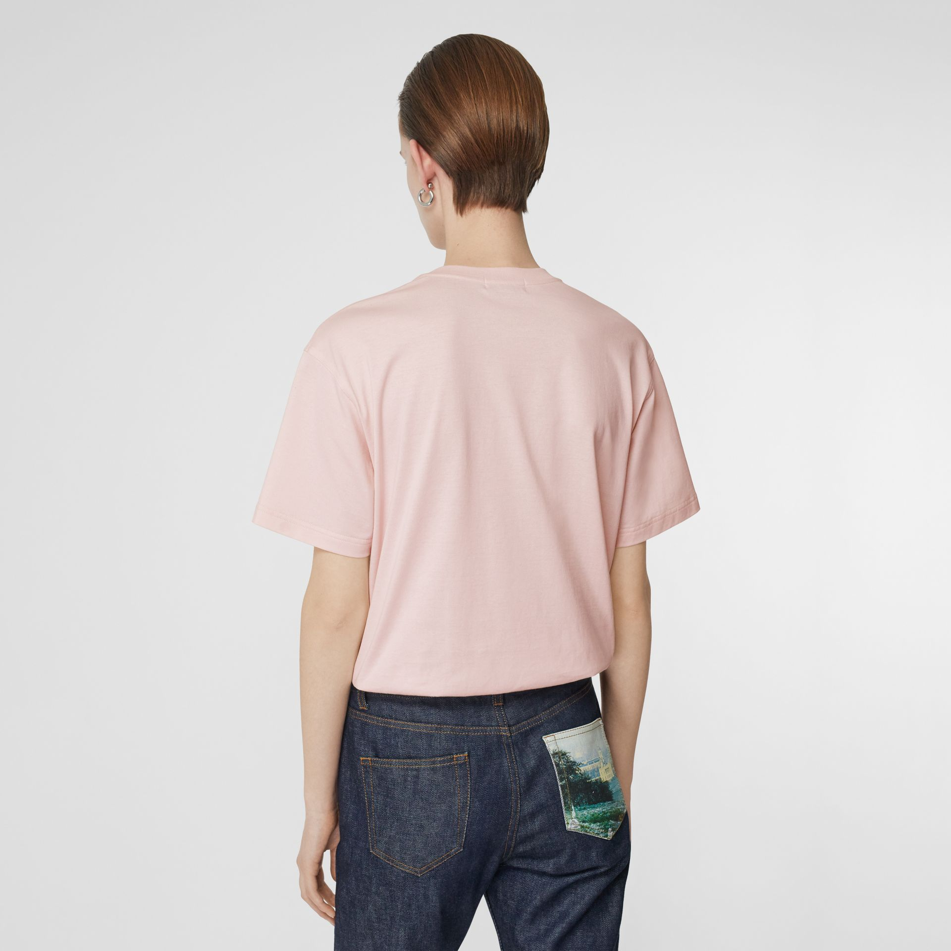 Logo Print Cotton Oversized T-shirt in Alabaster Pink - Women | Burberry Australia - gallery image 2