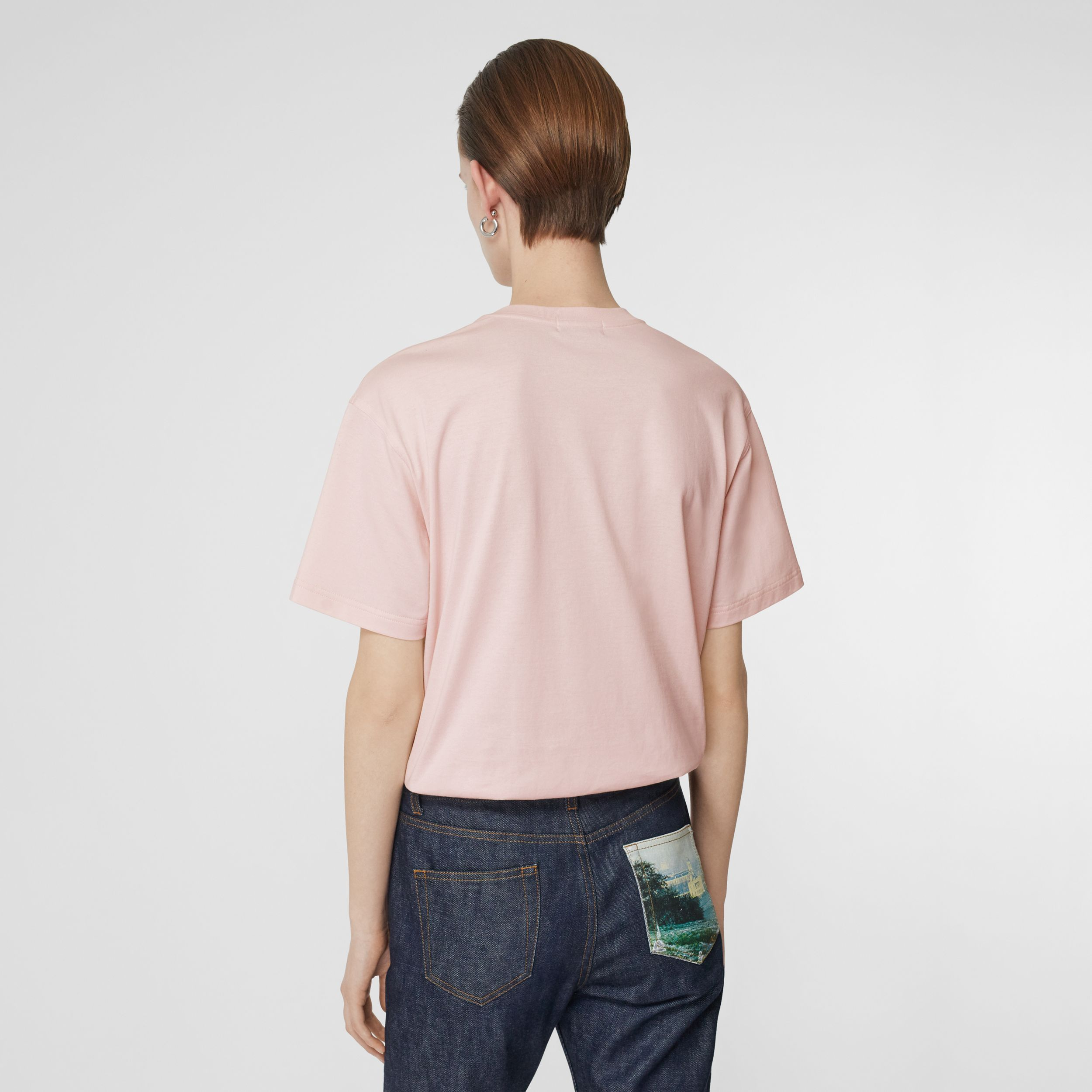 Logo Print Cotton Oversized T-shirt in Alabaster Pink - Women | Burberry - 3