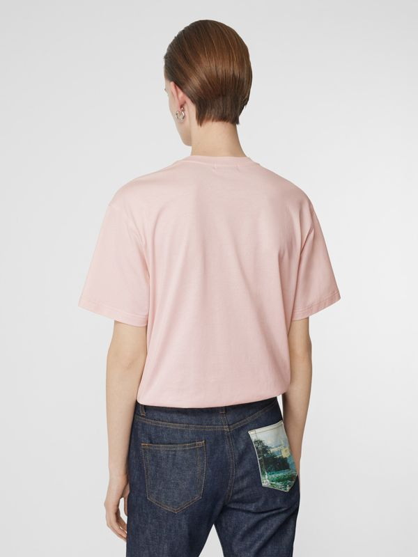 Logo Print Cotton Oversized T-shirt in Alabaster Pink - Women | Burberry - cell image 2