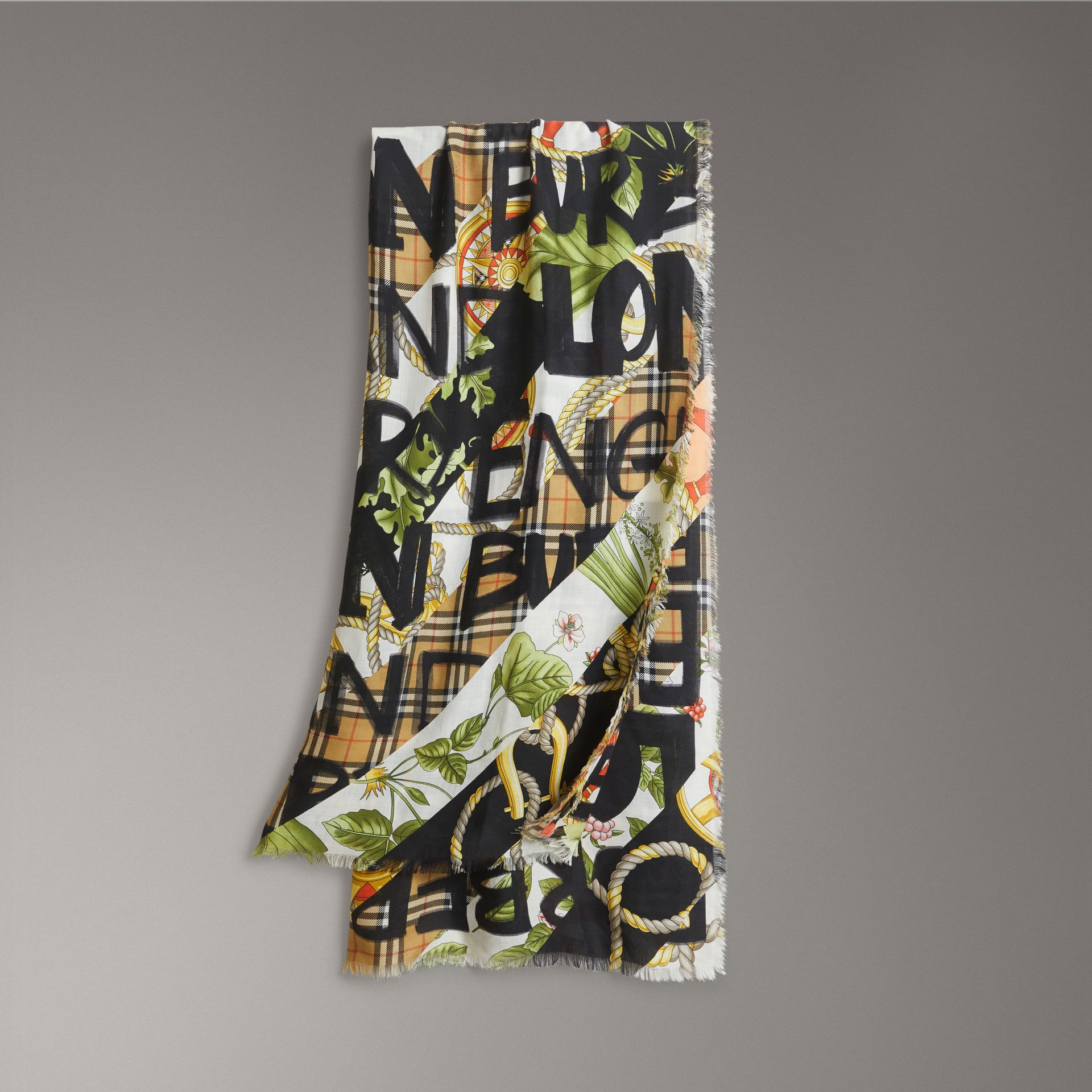 Graffiti Archive Scarf Print Wool Silk Cashmere Scarf in Multicolour | Burberry - gallery image 0