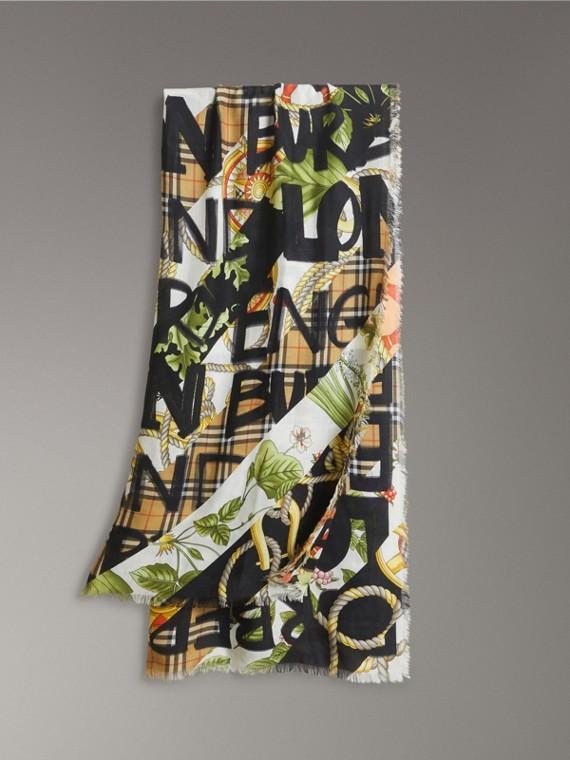 Pañuelo en lana, seda y cachemir con estampado vintage grafiteado (Colores Variados)