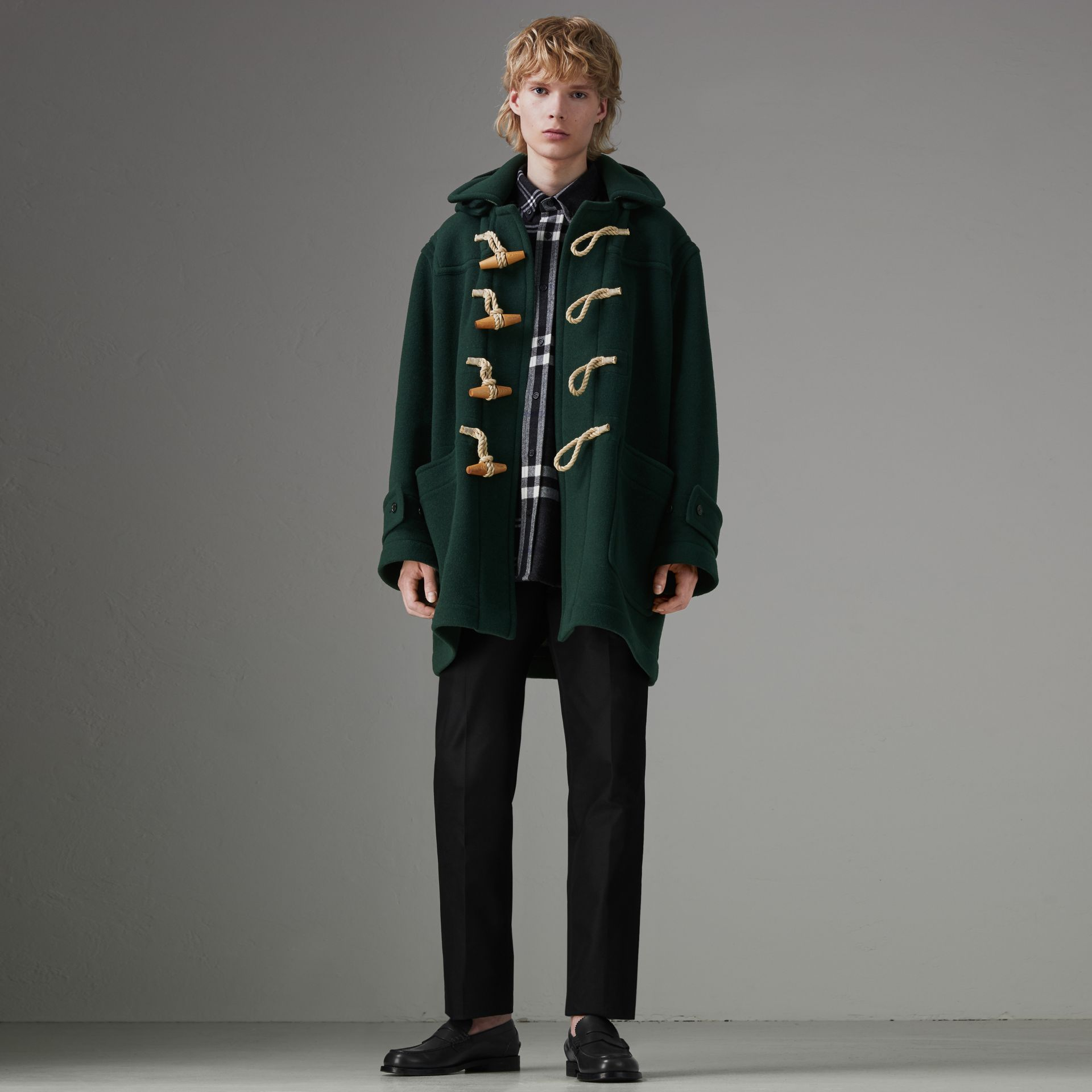 Gosha x Burberry Oversized Duffle Coat in Dark Forest Green | Burberry Australia - gallery image 0